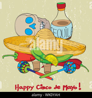 Cinco de mayo hand drawn cartoon illustration of a greeting card composition with mexican traditional elements oven a grungy background - Stock Photo