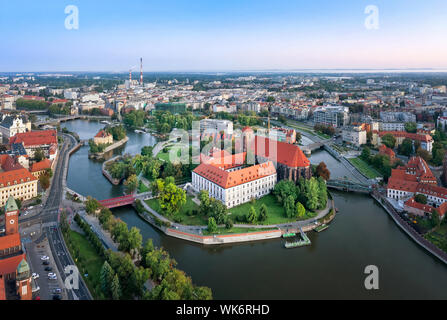 Aerial view of Wyspa Piasek (or Sand Island) in the Odra river, Wroclaw, Poland - Stock Photo