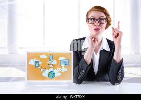 Thinking redhead businesswoman against bright room with window - Stock Photo