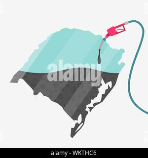 Map of Rio Grande do Sul being fueled by oil. Gas pump fueled map. On the map there is glass reflection. Brazilian state. Conceptual. Oil producing or - Stock Photo