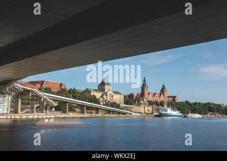 Panorama view of the city of Szczecin, northwest Poland, cityscape skyline during golden hour on a cloudy day, - Stock Photo
