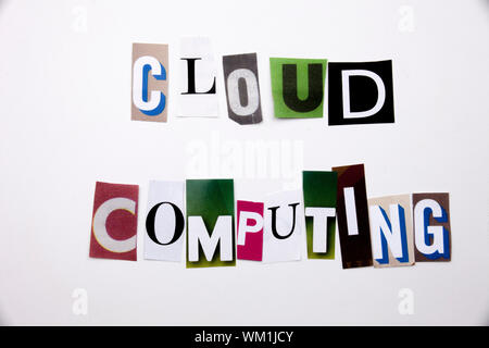 A word writing text showing concept of CLOUD COMPUTING made of different magazine newspaper letter for Business case on the white background with spac - Stock Photo