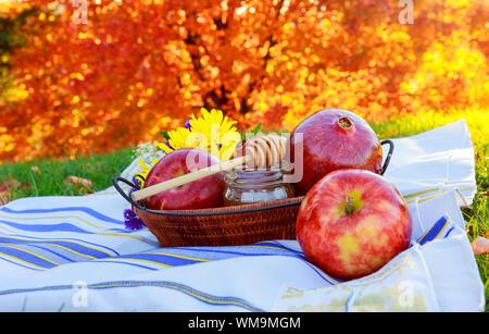 Apple and honey, traditional food of jewish New Year - Rosh Hashana space background - Stock Photo