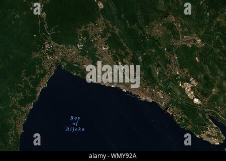 Rijeka in Croatia, European Capital of Culture in 2020, seen from space - contains modified Copernicus Sentinel Data (2019) - Stock Photo