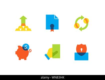 Business and finance - flat design style icons set - Stock Photo