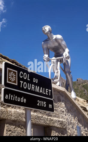 Statue to the Tour de France cycling race.On the summit of the Col du Tourmalet. French Pyrenees in Hautes-Pyrenees. - Stock Photo