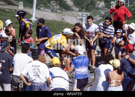 The 1994 Tour de France cycling race.Miguel Induran, 5 times winner of the race,in the yellow vest.Near the top of the Col du Tourmalet. - Stock Photo