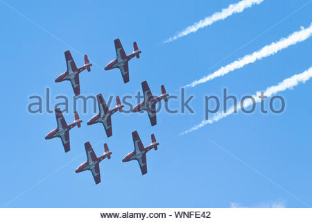 Toronto, Ontario, Canada-September 2, 2019: The Snowbirds Team performing over the city. Toronto city celebrates the 70th anniversary of the Canadian - Stock Photo