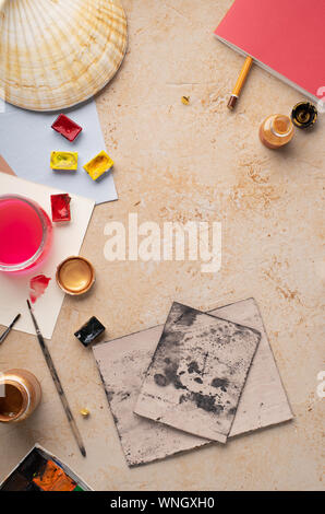 Artist's workspace flatlay. Art equipment on rustic background. View from above with copy space. - Stock Photo
