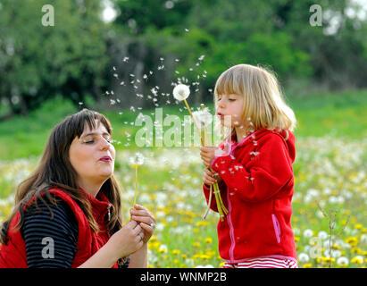 Mutter und tochter auf einer wiese mother with daughter on a meadow - Stock Photo