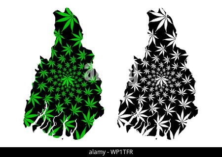 Ayeyarwady Region (Administrative divisions, Republic of the Union, Burma) map is designed cannabis leaf green and black, Irrawaddy Division map made - Stock Photo
