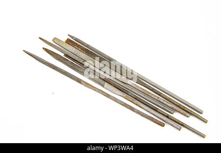 Needle files - working tool on a white background. Place for text - Stock Photo