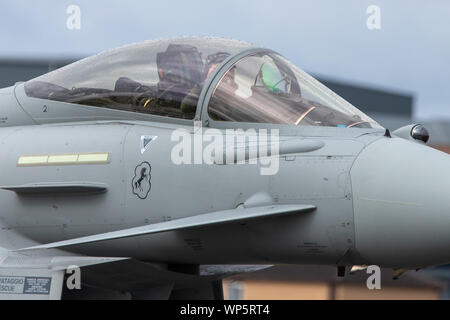 Closeup of the cockpit of an Italian Eurofighter Typhoon seen at RAF Waddington 4th September 2019. - Stock Photo