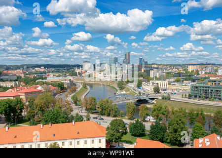 View to Vilnius old city, modern downtown and Neris river in Vilnius, Lithuania - Stock Photo