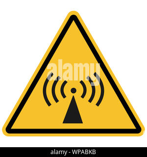 Warning sign -non-ionizing radiation, caution symbol vector illustration isolated on yellow triangle background. Great for icon,symbol,sign,label etc. - Stock Photo