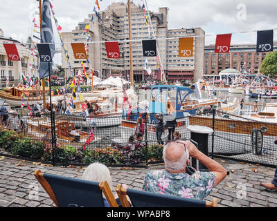 Classic Boat Festival at St. Katharine's Dock in London, England. - Stock Photo