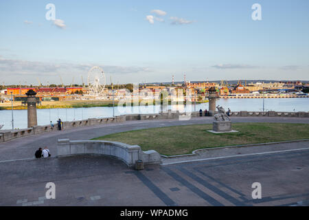 Szczecin.  Panoramic view on Chrobry embankment and waterfront - Stock Photo