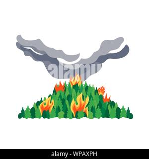 Forest fires disaster tree flat vector hand drawn icon. Wildfires destroy woodland ecology environment cartoon. Green trees blazing. Fire hazard sign. - Stock Photo