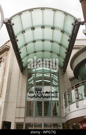 Covered entrance to The Oracle shopping arcade / centre / mall) from Broad Street in Reading, Berkshire. UK. The Oracle has several entrances. (113) - Stock Photo