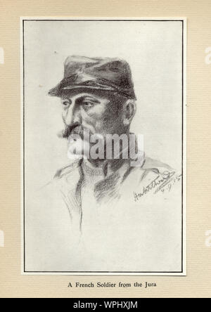 World Ward One, French soldier from Jura, 1915. Mr Poilu, by Herbert Ward. - Stock Photo