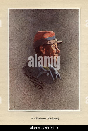 World Ward One, French soldier, Fantassin, Infantry, 1915. Mr Poilu, by Herbert Ward. - Stock Photo