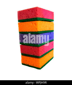 Multi-colored cleaning sponges for washing dishes on a white background isolated. Pile of dish sponges. - Stock Photo