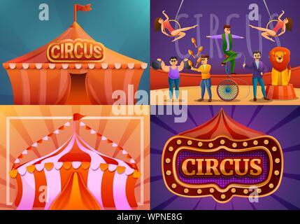 City circus banner set. Cartoon illustration of city circus vector banner set for web design - Stock Photo