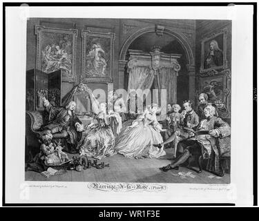 Marriage à la mode--the toilette scene / invented painted & published by Wm. Hogarth; engraved by S. Ravenet. - Stock Photo