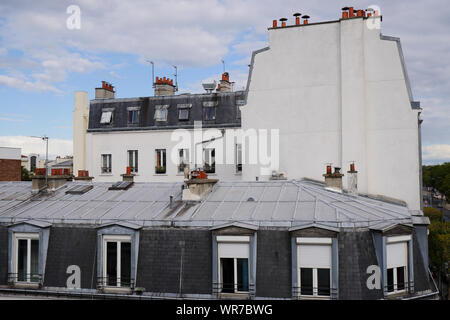 Traditional Paris building with zinc roofs, Vincennes, Val-de-Marne, Île-de-France, France - Stock Photo