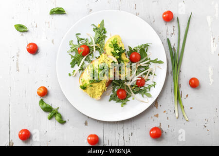 Breakfast sandwiches with egg paste with chives. - Stock Photo