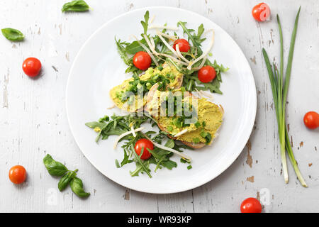 Egg paste with chives, healthy breakfast.  Breakfast sandwiches - Stock Photo