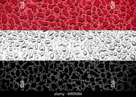 Yemen national flag made of water drops. Background forecast season concept. - Stock Photo
