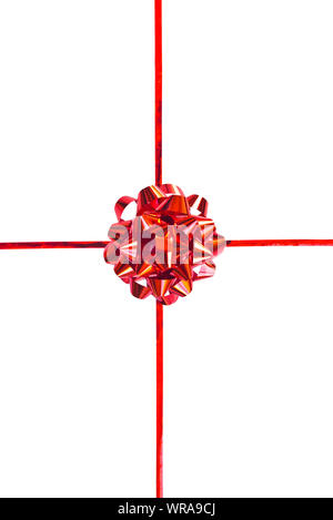 Red gift bow and ribbon isolated on white background - Stock Photo