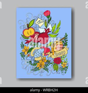 Rosh hashanah - Jewish New Year greeting card template with apples, honey and pomegranates. Hebrew text Happy New Year and Happy Holiday. Hand drawn vector illustration. - Stock Photo