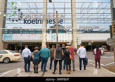 COLOGNE, GERMANY - CIRCA SEPTEMBER, 2019: exterior of Koelnmesse. Koelnmesse GmbH is an international trade fair and exhibition center located in Colo - Stock Photo