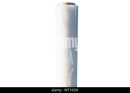 Stretch film wound on rolls, isolated on a white background with a clipping path. - Stock Photo