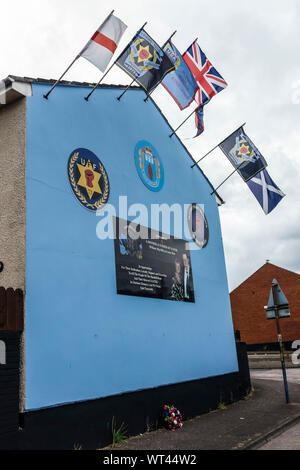 Political murals from the Ulster defence union. Belfast, Ulster, Northern Ireland, United Kingdom, UK, Europe - Stock Photo