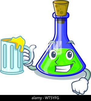 With juice magic potion cartoon shaped in character vector illustration - Stock Photo