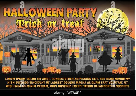 halloween party poster wtih kids in halloween costume - Stock Photo