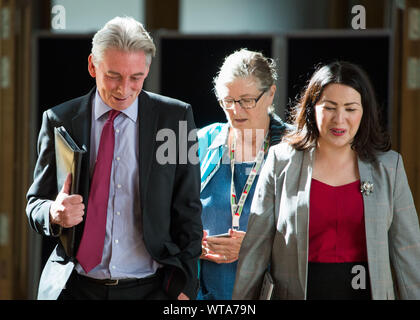 Edinburgh, UK. 5 September 2019. Pictured: (L-R) Richard Leonard - Leader of the Scottish Labour Party; Claudia Beamish; Monica Lennon. Scenes from Holyrood before First Ministers Questions returns to the chamber after the summer recess.  Colin Fisher/CDFIMAGES.COM - Stock Photo