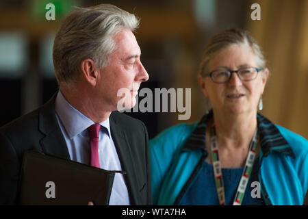 Edinburgh, UK. 5 September 2019. Pictured: (L-R) Richard Leonard MSP - Leader of the Scottish Labour Party; Claudia Beamish. Scenes from Holyrood before First Ministers Questions returns to the chamber after the summer recess.  Colin Fisher/CDFIMAGES.COM - Stock Photo