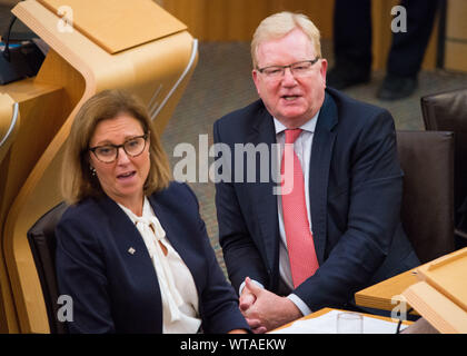 Edinburgh, UK. 5 September 2019. Pictured: (L-R) Rachael Hamilton MSP; Jackson Carlaw MSP - Interim Scottish Tory Leader. First Ministers Questions in the chamber takes place after the summer break.  Colin Fisher/CDFIMAGES.COM - Stock Photo