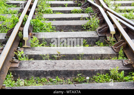 Close-up of iron railway track with horizontal timber sleepers and weeds - Stock Photo
