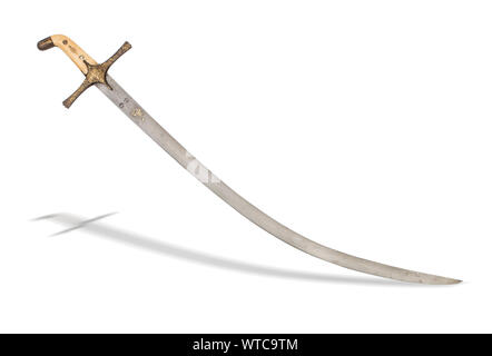 Turkish Ottoman shamshir sword of the 19th century. A shamshir is a type of Middle Eastern sword with a radical curve. - Stock Photo