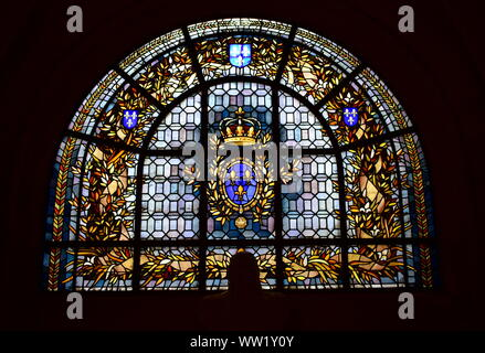 House of Bourbon coat of arms. Stained glass window at Saint Denis Basilica. Paris, France. August 12, 2019. - Stock Photo