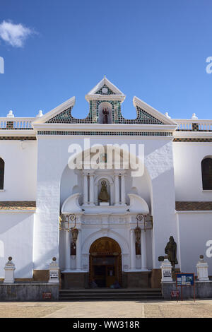 COPACABANA, BOLIVIA - OCTOBER 19, 2014: The entrance of the Basilica of Our Lady of Copacabana in the small tourist town at Lake Titicaca - Stock Photo