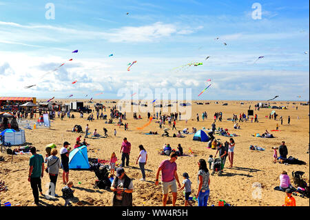 The eighth St Annes International kite festival 2019 on the towns beach - Stock Photo