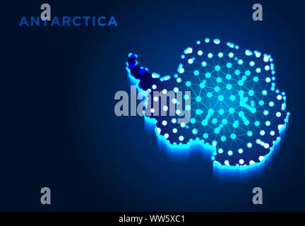Antarctica Continent in Blue Silhouette, Abstract Low poly Designs, from line and dot wireframe, Vector Illustration - Stock Photo