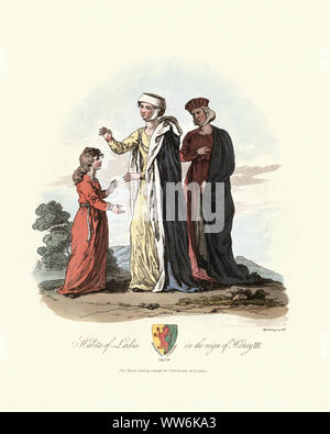 Vintage engraving of  Medieval women's fashions, Habiots of Ladies in the reign of Henry III, 13th Century. Ancient costumes of England, 1813 - Stock Photo