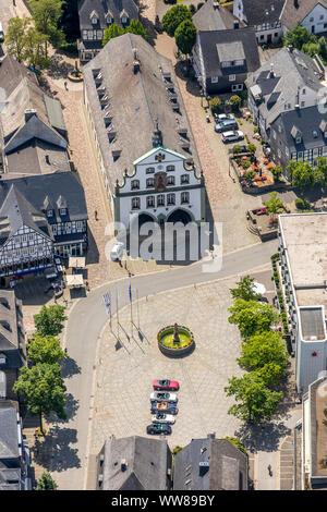 Market Square and provost church St. Petrus and Andreas, Roman Catholic Church, Brilon, Sauerland, North Rhine-Westphalia, Germany - Stock Photo